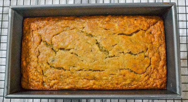 healthy moist banana bread in pan
