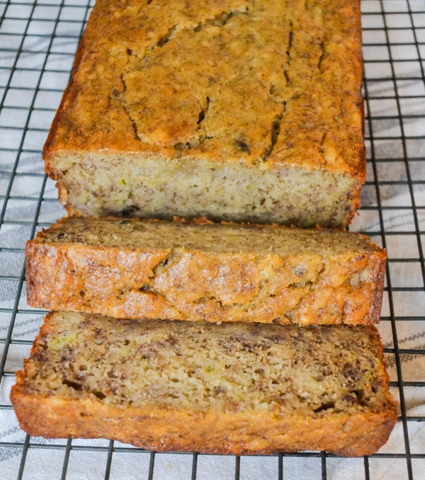 healthy moist banana bread on cooling rack