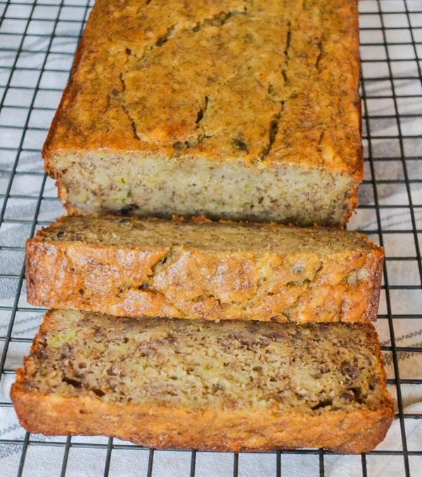 healthy moist banana bread on cooling rack