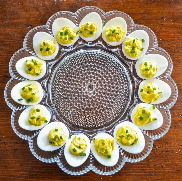 Perfect Creamy Deviled Eggs on Egg Plate