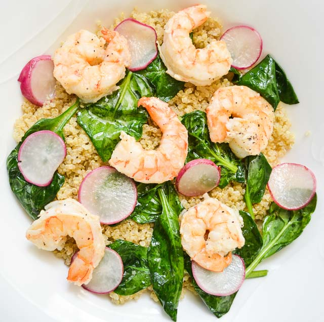 Lemony Shrimp Quinoa with Wilted Spinach and Sliced Radishes