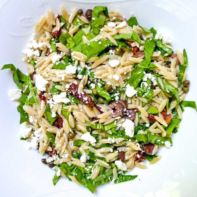mediterranean orzo salad with white wine vinaigrette and feta cheese
