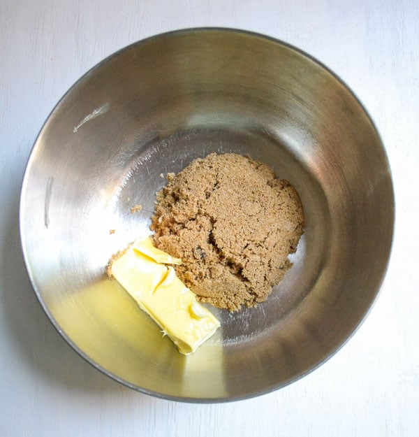 borwn sugar and soft butter in mixing bowl