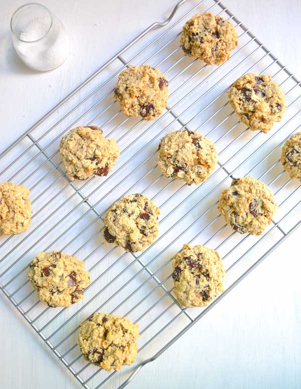 baked gluten-free chocolate oatmeal cookies on wire cooling rack