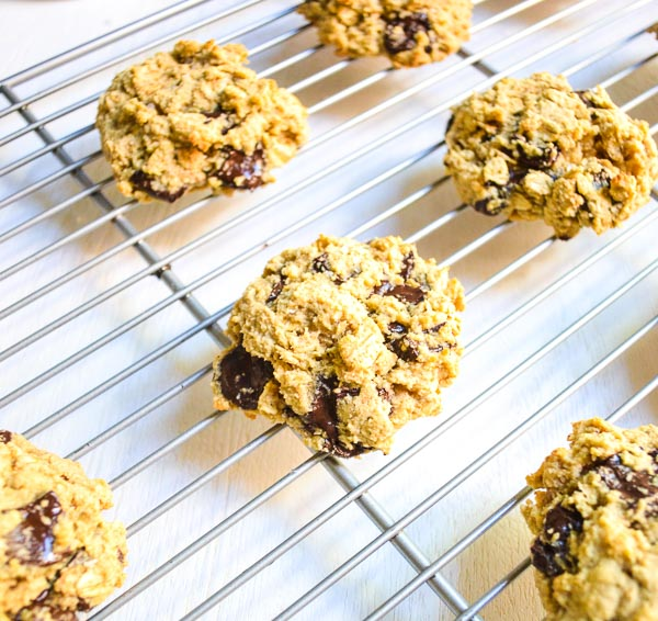 gluten-free chocolate oatmeal cookies cooling on wire rack