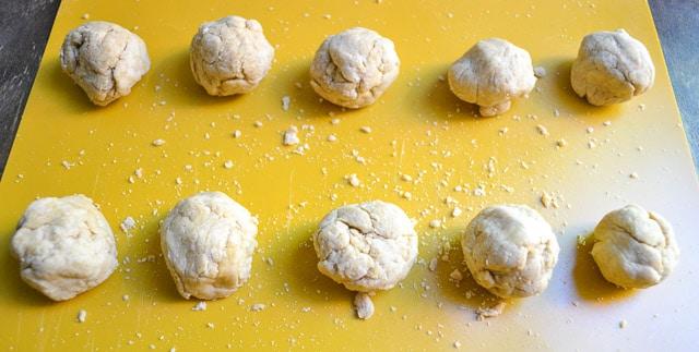 ten homemade wheat tortilla dough balls