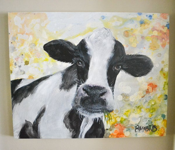 oil painting close-up of black and white dairy cow