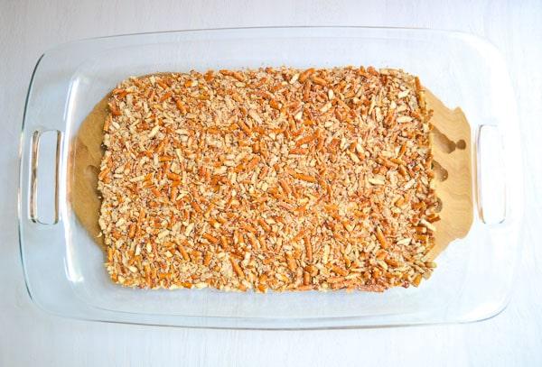 baked pretzel crust in 9 x 13 glass dish