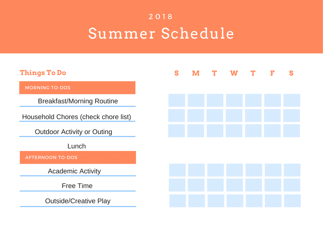 Summer 2018 Daily To-Do Schedule