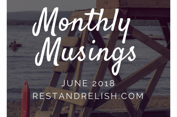 Monthly Musings June 2018 Beach with Lifeguard and Surfboard