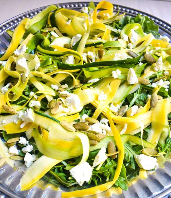 shaved summer squash salad with lemon-thyme vinaigrette