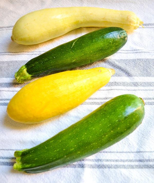whole yellow squash and zucchini