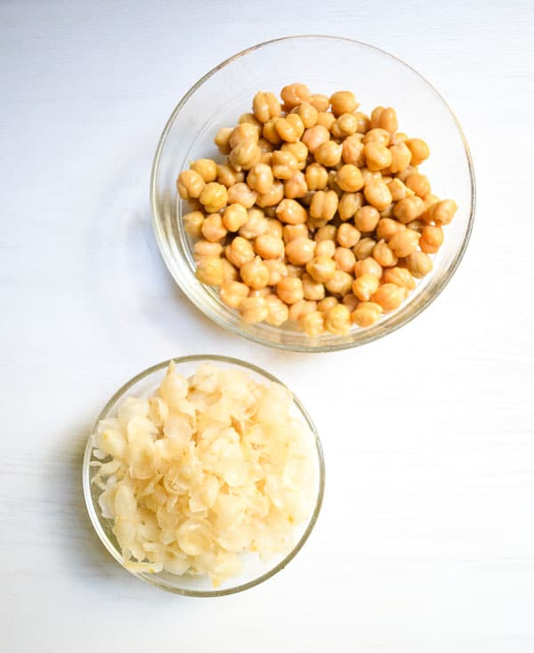 peeled garbanzo beans and skins