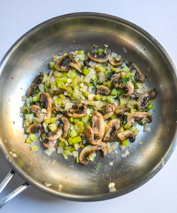 Sauteed Sliced Mushrooms, Chopped Onion and Celery in Saute Pan