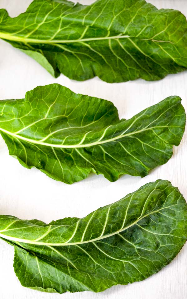 three clean and dry collard leaves
