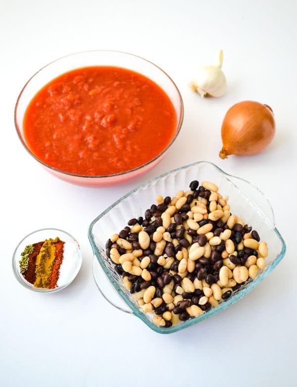 Individual measured ingredients for Smoky Vegan Crockpot Chili