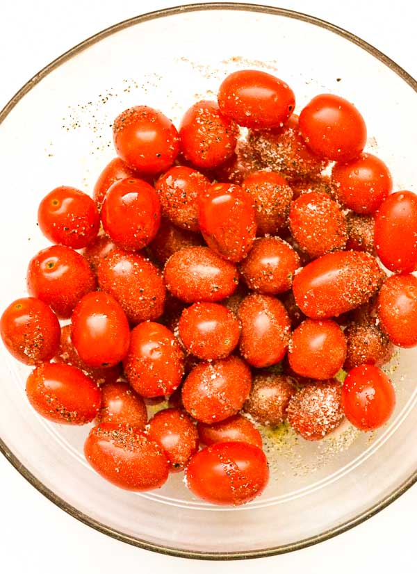 Grape Tomatoes Prepped for Slow Roasted Grape Tomatoes
