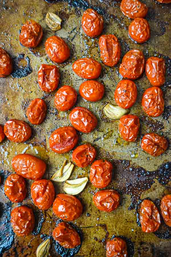 Slow Roasted Grape Tomatoes with Garlic Cloves