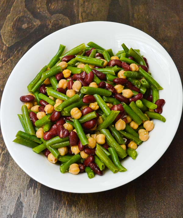 Easy Three Bean Salad in white serving dish