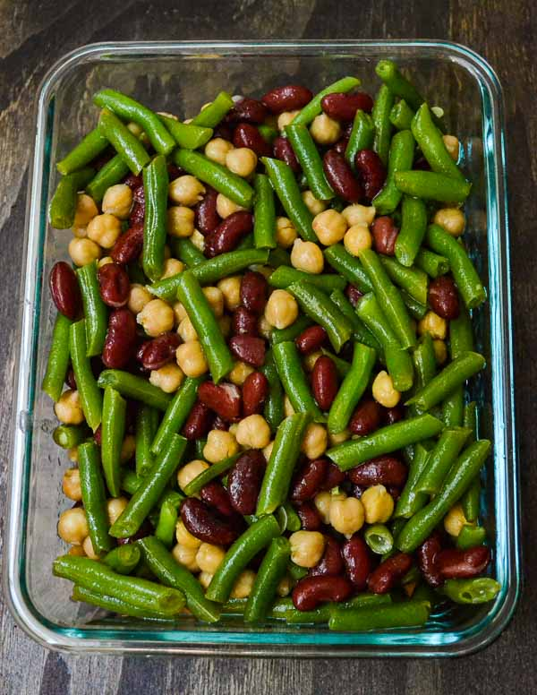 Easy Three Bean Salad transferred to glass storage container