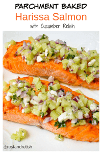 Parchment Baked Harissa Salmon with Cucumber Relish Pin