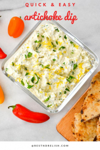 artichoke dip graphic with flatbread and mini peppers
